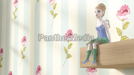 toy doll sitting on shelf 3d