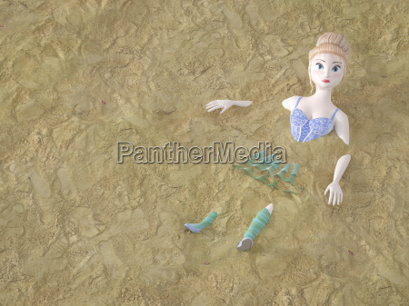 toy doll lying in sand 3d