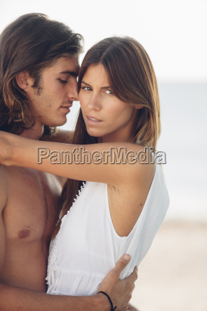 romantic young couple at the beach