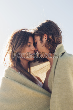 romantic young couple together at the