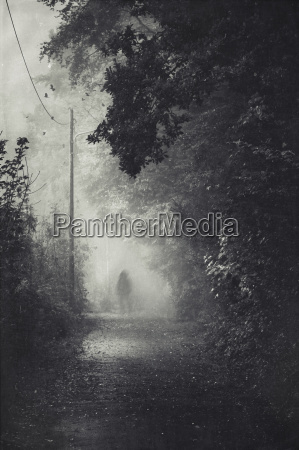 silhouette of a man on path