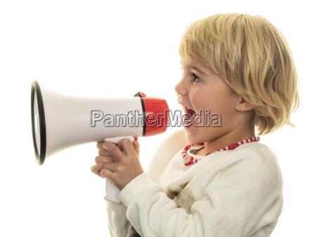 blond girl shouting in megaphone