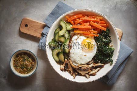 vegetarian korean rice bowl with mushroom