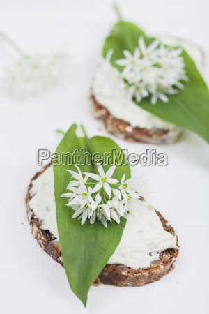 slice of bread with cream cheese