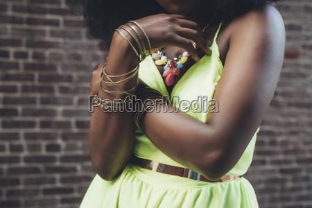 woman wearing bracelets close up