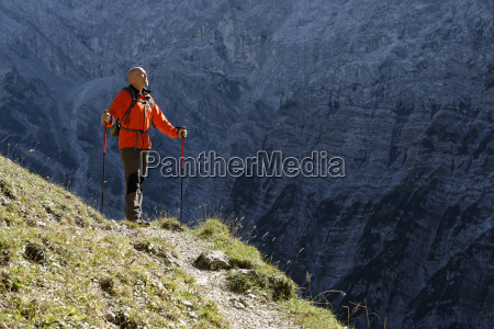 austria tyrol karwendel hiker on trail