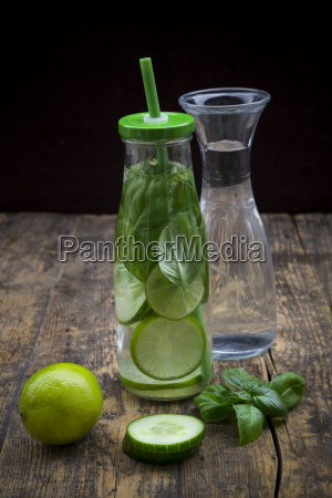 glass bottle of infused water with