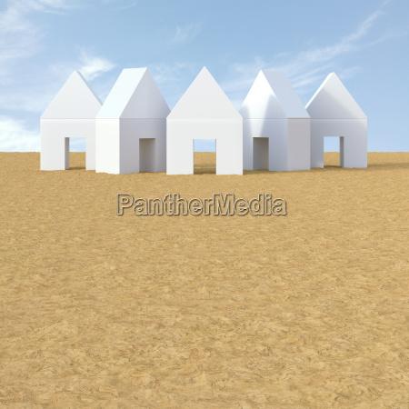 3d illustration white houses on sand