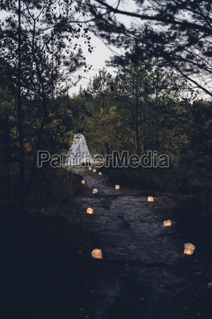 romantic camp in autumnal nature at