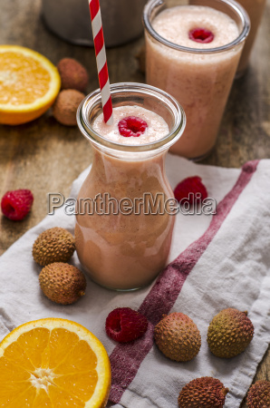 buttermilk smoothie orange litchi and raspberries