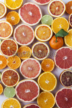 halves of different citrus fruits and