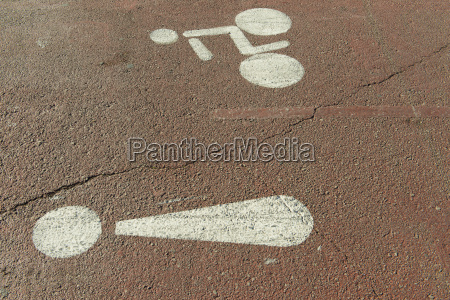 pictograms on bicycle lane