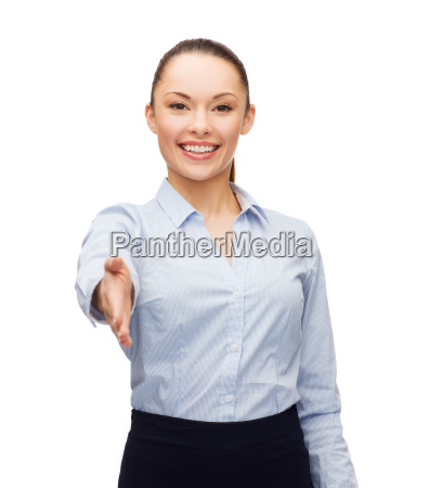businesswoman with opened hand ready for
