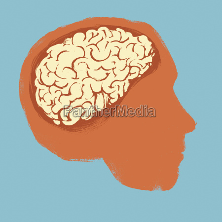 illustration of human head against blue