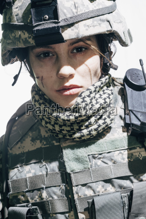 portrait of army soldier wearing helmet