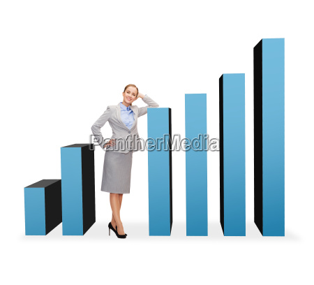 smiling businesswoman with growing chart