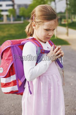 portrait of 5 year old schoolgirl