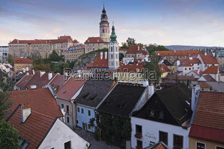 overview of city and rooftops with