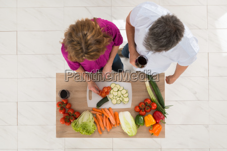 high angle view of couple preparing