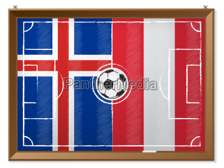 soccer field with austrian and iceland