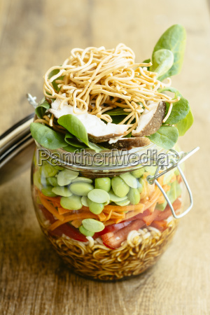 asian salad in a jar with