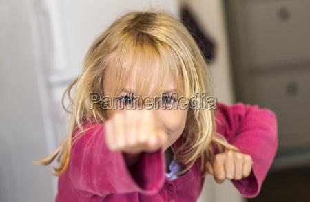 little girl training self defence