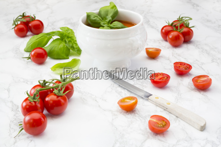 tomato soup tomatoes and knife on