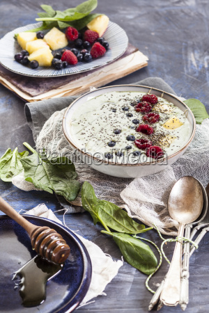garnished green smoothie bowl