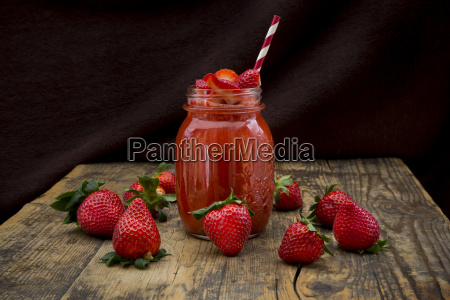 glass of strawberry smoothie