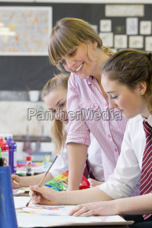 art teacher teaching middle school students