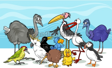 birds group cartoon illustration