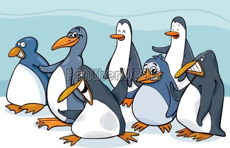penguins group cartoon