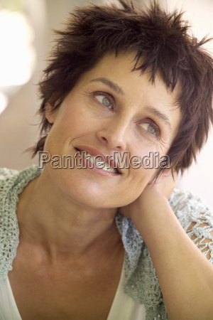 close up of middle aged woman