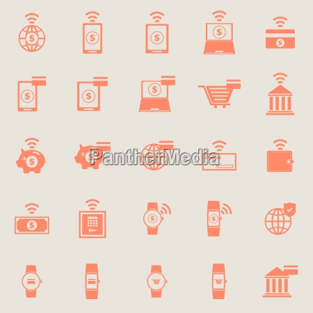 fintech line icons on black background