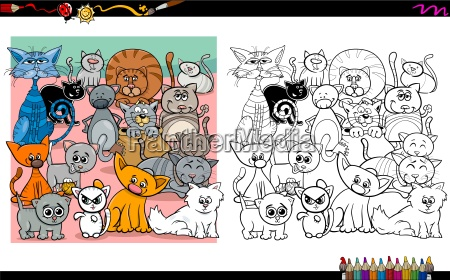 cat characters coloring page