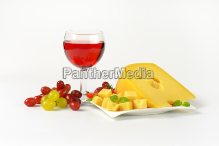 swiss cheese red wine and fresh