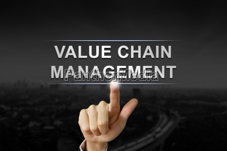business hand pushing value chain management