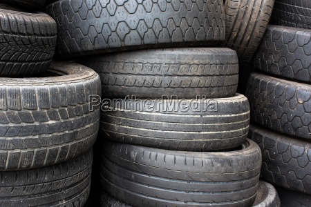 stacks of used tyres