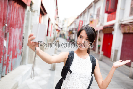 young woman taking self image by