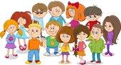 school kids group cartoon
