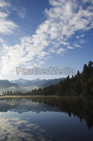lake matheson reflecting a near perfect