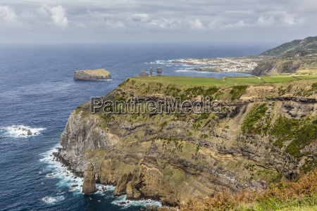 the rugged coastline of the azorean