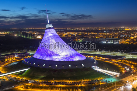 night view over khan shatyr entertainment