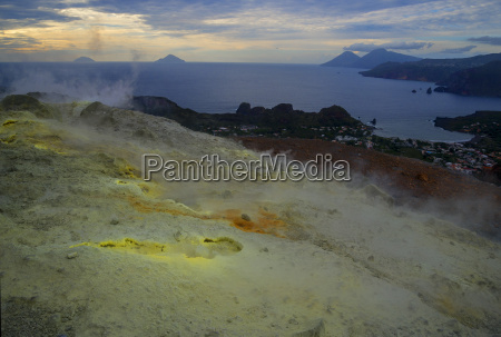 sulphur and fumaroles smoke on volcano
