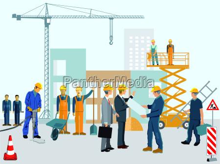 baustelle mit arbeitern und architekt