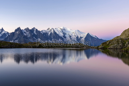 mont blanc reflected during twilight in