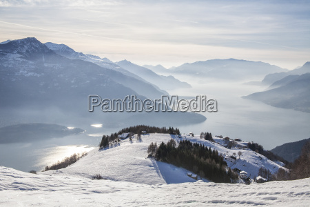 winter view of lake como vercana
