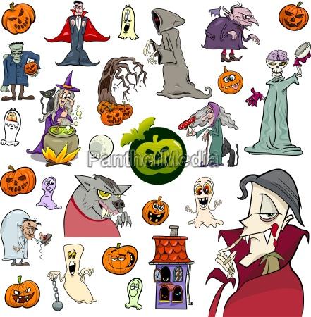 halloween holiday cartoon set