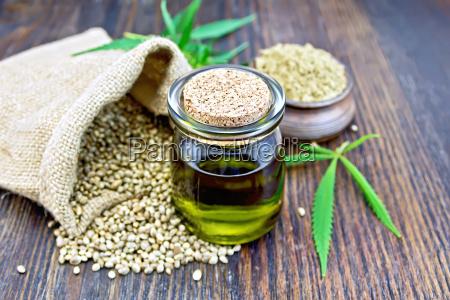 oil hemp with flour on board