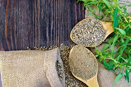 flour hemp with grain in wooden